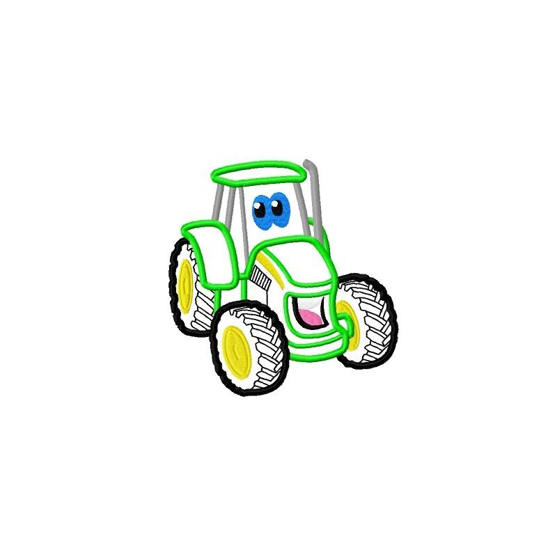 Cute green tractor applique embroidery design