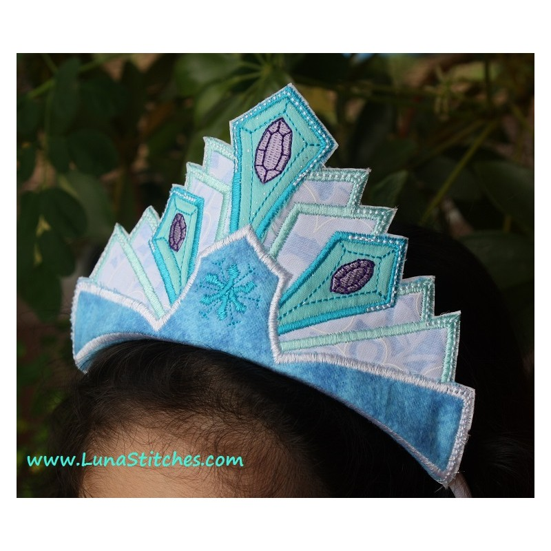Snow queen crown in the hoop embroidery applique design