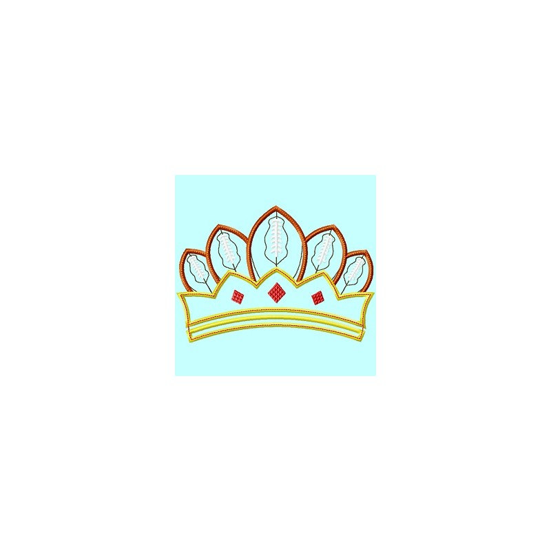 Football queen crown in the hoop embroidery applique