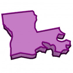 Louisiana State 3D Applique Embroidery Design