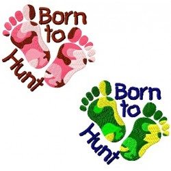 Camouflage Footprint Born to Hunt Boy and Girl Fill Embroidery Design
