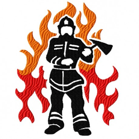 Firefighter and Flames Filled Embroidery Design