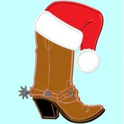 Cowboy Boot and Santa Claus Hat