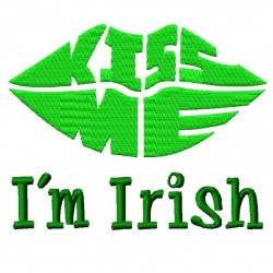 Kiss Me I am Irish fill Embroidery Design