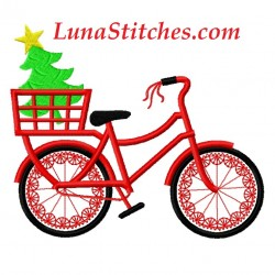 Red Bicycle with Christmas Tree