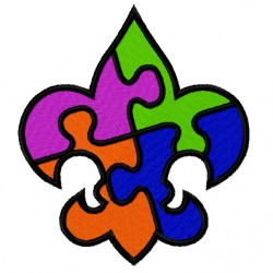 Fleur De Lis Puzzle fill Embroidery Design