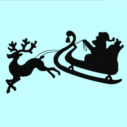 Santa and Deer Silhouette