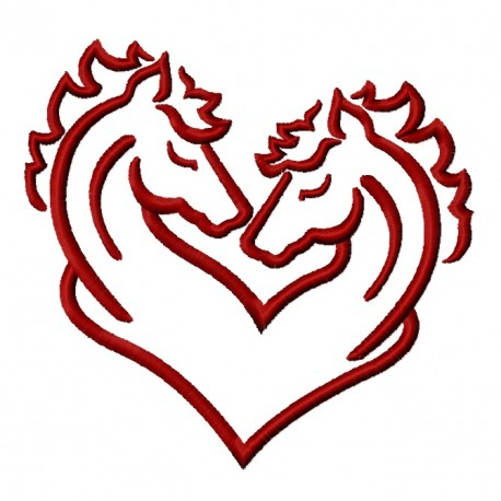 Two Horses Heart Frame Embroidery Design