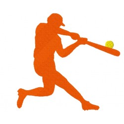 Baseball Player Silhouette fill Embroidery Design