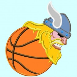 Viking Mascot on Basketball