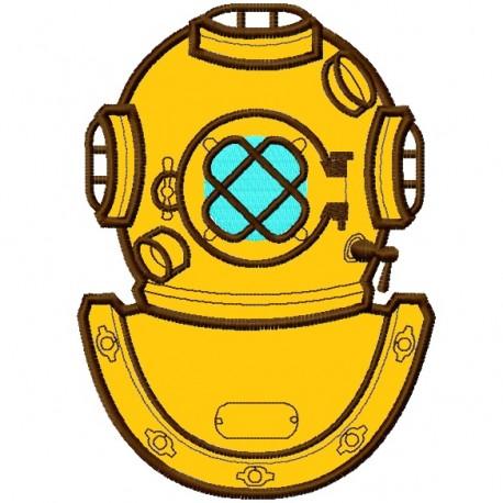 Diver Helmet Applique Embroidery Design