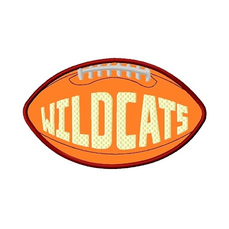Football With Word Wildcats Applique Embroidery Design