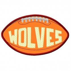 Football With Word Wolves Applique Embroidery Design