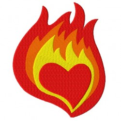 Heart in Flames Fill Embroidery Design