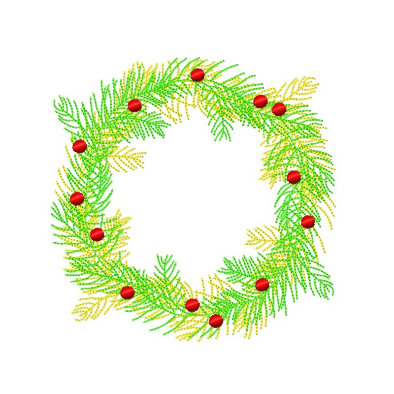 2 color Christmas Pine Tree Wreath - lunastitches.com