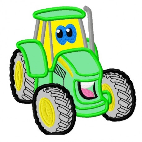 Cute Green Tractor Applique Embroidery Design