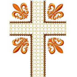 Fleur De Lis Gold Cross fill Embroidery Design