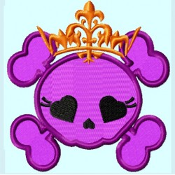 Cute Pink Skull with Crown