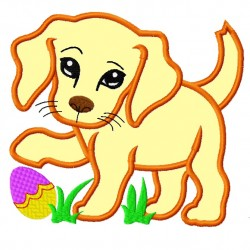Sweet Face Easter Puppy Dog Applique Embroidery Design