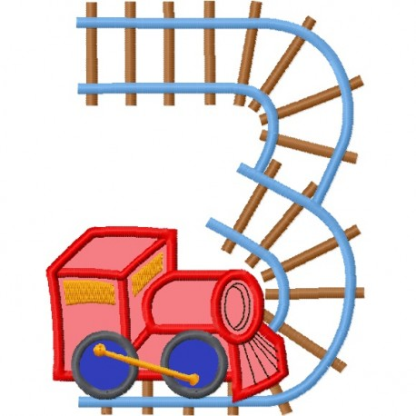Train With Train Tracks Number Three 3 Applique Embroidery Design