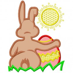 Bunny and Egg watching sunset Applique Embroidery Design