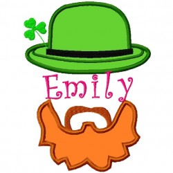 Split Irish Hat and Beard Applique Embroidery Design