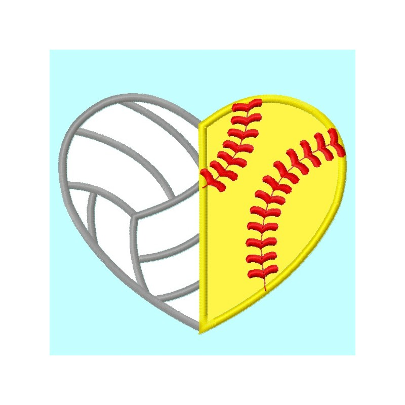 Volleyball And Softball Heart