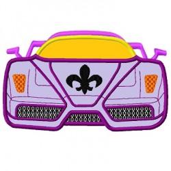 Race Car Fleur De Lis Front Applique Embroidery Design