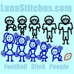 Stick People Football and Cheerleader Family