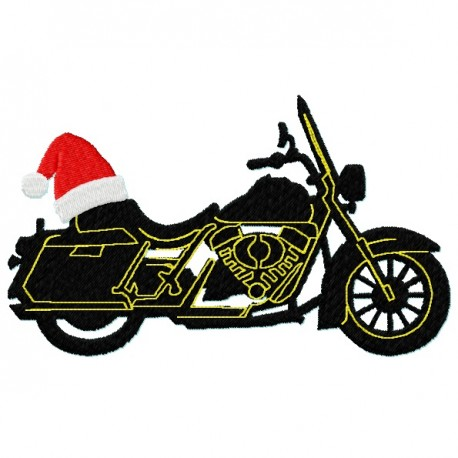 Motorcycle Bike Silhouette Santa Hat fill Embroidery Design