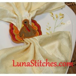Turkey Napkin Holder, In The Hoop Embroidery Applique Design