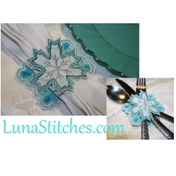 Snow Flake Napkin Holder, In The Hoop Embroidery Applique Design
