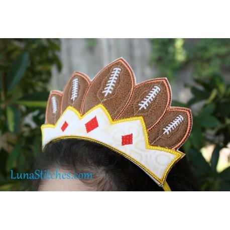 Football Queen Crown In The Hoop Embroidery Applique Design