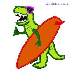T-Rex Dinosaur Surfing