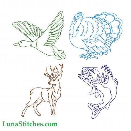 Hunting Animals Bean Stitches