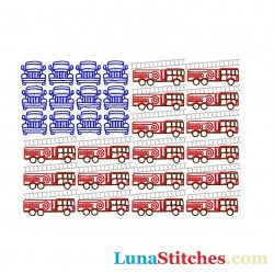 USA Flag Fire Trucks