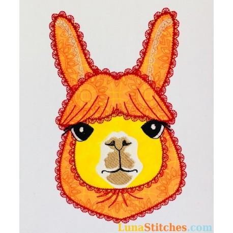 Llama Alpaca Face Fancy Stitches