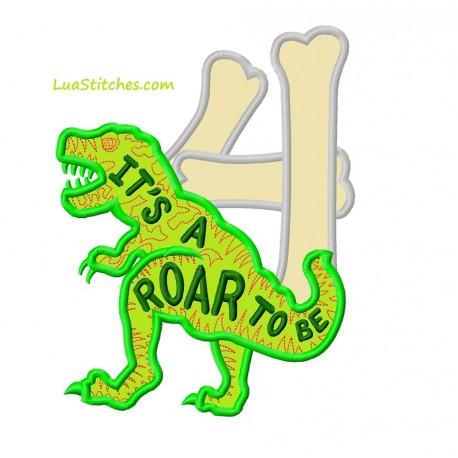 T-Rex Dinosaur It Is A Roar To Be Four