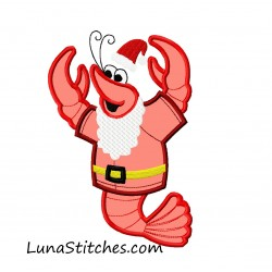 Super Cute Crawfish Shrimp Lobster Santa Claus Christmas Applique Embroidery Design