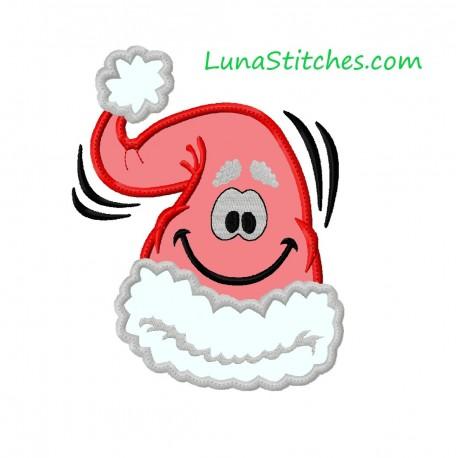 Santa Claus Hat Happy Face APPLIQUE Embroidery Designs