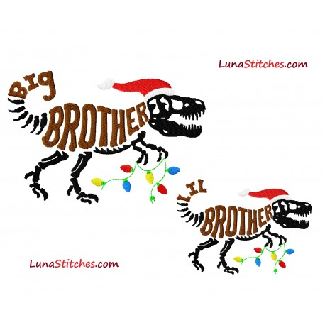 T-Rex Christmas Santa Claus Dinosaur Dino Big Little Brother Bundle Fill Embroidery Design