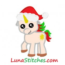 Pony Unicorn with Santa Claus Hat Applique Embroidery Christmas Design
