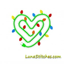 Christmas Lights Heart Embroidery Design