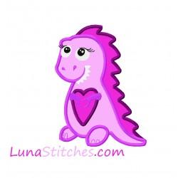 Cute T-Rex Dinosaur Dino Girl Love Heart Applique Embroidery Design