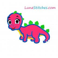 Stegosaurus Cute Dinosaur Dino Girl Applique Embroidery Design