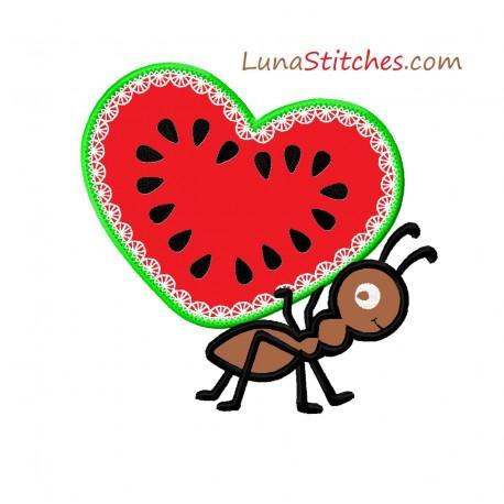 Watermelon Heart Ant Applique Embroidery Design