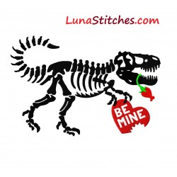 Valentine Be Mine Heart T-Rex Dinosaur