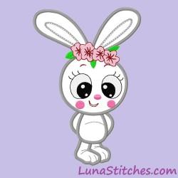 Cute Bunny Rabbir Flowers APPLIQUE Embroidery Design
