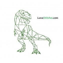 TRex Origami Polygon Dino Bean Stitches Embroidery Design
