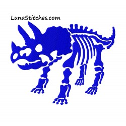 Triceratops Dinosaur Dino Skeleton Fill Embroidery Design